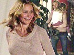 Glamorous Cameron Diaz is on mommy duty as she carries sleeping child... but it's only for a scene in her new film