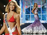 Lovely in lilac: Miss Great Britain competes in Miss Universe preliminary round in stunning gown and VERY revealing bikini