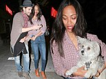 Can we get a doggy bag with that? Three's company for Zoe Saldana and husband Marco Perego as they dine out with her pup