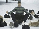Run rabbit run: Josh Duhamel posted a snapshot of himself on Instagram showing himself striking a pose with a group of bunnies