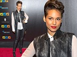 Alicia Keys causes a style storm in leather trousers and spiked heels at the premiere of Hurricane Sandy relief concert film 12-12-12