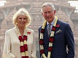 Camilla and Charles outside the Akshardham Temple during day three of their official visit to India