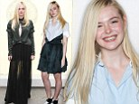 Much better! Teen actress Elle Fanning dresses more age appropriate in cute shirt dress at Screenwriting Awards