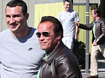 Bromance! Hayden Panetierre's pro boxer fiance Wladimir Klitschko towers over his idol Arnold Schwarzenegger as they play with cars on a man-date