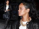 Black and gold! Rihanna leaves her skintight clothes behind and dresses in a bulky leather jumpsuit and heavy metal as she dines out in New York City