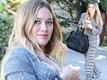 Hope there's a fireplace! Hilary Duff dressed comfy and cosy for a visit to a friend's house in West Hollywood, California on Friday
