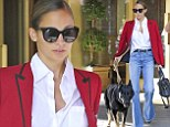 A flare for fashion! Nicole Richie harks back to the Seventies again as she steps out in bell bottom jeans for outing with her very large pooch Iro