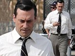 We thought the underwear was authentic! Jon Hamm appears to go commando in snug trousers on set of Mad Men