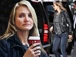 Make-up free Cameron Diaz debuts darker blonde hairdo while grabbing Starbucks in NYC
