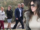 Liz Hurley goes for lunch with Shane Warne's family at Donovans in Melbourne