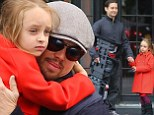 Getting broody? Leonardo DiCaprio plays the doting uncle with close friend Tobey Maguire's daughter Ruby