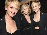 They could be mother and daughter! Jennifer Lawrence cuts a sexy figure in black frock as she joins Jane Fonda at event