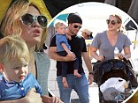 She's a kid again! Hilary Duff bounces with son Luca at Studio City farmers market