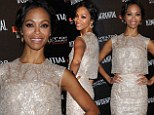 Newlywed Zoe Saldana brings the glamour to the red carpet in yet another stunning bridal-inspired outfit