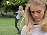 Cara Delevingne plays football with Will Poulter on the set of new film Kids In Love