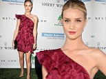 Rosie Huntington-Whiteley looks intoxicating in cabernet ruffle mini-dress at the Baby2Baby Gala
