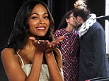 Loved up Zoe Saldana blows kisses at screening of latest movie after engaging in PDA with new husband Marco Perego