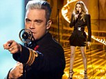 Robbie Williams and Celine Dion perform on The X Factor on Sunday night