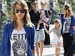 A little rock 'n roll! Jessica Alba wears Keith Richards shirt and baggy clothes after a night out