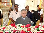 Paying his respects: Prince Charles visits the tomb of Saint Haji Ali during a tour of the Haji Ali Mosque in Mumbai on the sixth day of his official visit to India