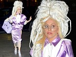 Lady Gaga wears towering dreadlocks and collared lavender dress for SNL rehearsals