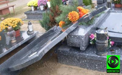 Zdemolowany cmentarz