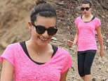 Lea Michele looks pin-thin in clingy workout wear as she catches up with friend on a hike