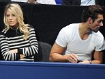 Awkward courtside: Mollie and her ex boyfriend David Gandy do not look pleased with their seats at the ATP Tour's Men's Tennis Final at the O2