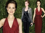Evan Rachel Wood dons stylish chic gold blazer for TV appearance before changing into plunging red dress for fashion gala