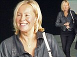 Rarely-seen ABBA singer Agnetha Faltskog cuts a very youthful figure as she arrives in the UK