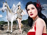 Magical: Dita Von Teese posed as Gorgon Medusa besides the winged stallion Pegasus for the Lambertz Calendar 2014, which will be tititled Goddesses of Europe