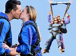 Falling for each other... quite literally! LeAnn Rimes and Eddie Cibrian are REALLY happy to see each other after taking part in charity skydive