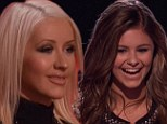 Enjoying the show: Christina Aguilera watched the final 12 singers give it their best on Wednesday night's episode of The Voice