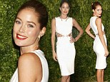 2502392 Stone the Kroes! Doutzen dazzles on the red carpet in form fitting white dress at Vogue Fashion Fund Awards