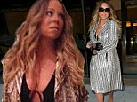 Bra-less Mariah Carey leaves little to the imagination in a VERY low-cut dress... before covering up in a snakeskin coat