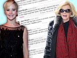 Joan Rivers lashes out at 'arrogant' Jennifer Lawrence in Twitter rant after the actress criticised Fashion Police for perpetuating bad body image