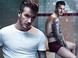 He's the best advertisement! David Beckham strips down to plum coloured boxers for his latest range for H&M