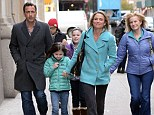 Support: Amy Robach, her husband Andrew Shue and her daughters, Ava McIntosh and Annie McIntosh were seen heading to Madison Square Park yesterday after she announced live on air she has breast cancer