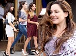 Kelly Brook goes make-up free and dressed down for girlie catch-up after sunset 'date' with Jeremy Piven