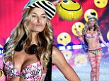 Smile you like mean it! Jessica Hart carried a smiley face balloon during the Victoria's Secret Fashion Show 2013 in New York City on Wednesday