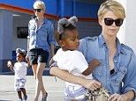 Mighty mouse! Charlize Theron let her son Jackson wear animal ears as they took a stroll around Los Angeles, California on Wednesday