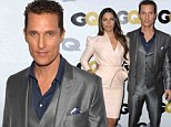 Gentlemen prefer gongs! Matthew McConaughey beams with pride as he is given GQ Man Of The Year Award