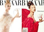 Nicole Kidman wears ultra-sheer sheer gown to replicate Kate Moss' 1992 pose on the cover of Harper's Bazaar Australia