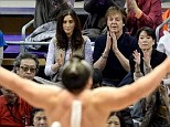 Sir Paul McCartney takes in a sumo contest with wife Nancy Shevall in Fukoaka, Japan