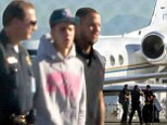 Justin Bieber's private jet is searched by custom officials after arriving home to U.S.