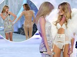 Like what you see, Taylor? Miss Swift admires cleavage at Victoria's Secret Fashion Show... before getting a cheeky pat on the bottom herself