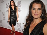 Lovely in leather: Brooke Shields dazzled in a skintight black dress as she attended Billy Crystal: 700 Sundays at the Imperial Theatre in New York on Wednesday
