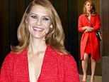 Claire Danes steps out in very matchy-matchy scarlet coat, dress and shoes for appearance on The Late Show
