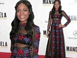 Sheer delight! Naomie Harris shows off her toned tummy and perfect pins in see-through dress at Mandela premiere