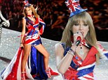 Rule Britannia! Taylor Swift wears a Union flag-print mini-dress and tiny top hat as she takes to the catwalk to perform at the Victoria's Secret Fashion Show